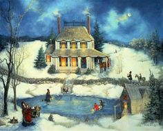 Americana Folk Art ~ Skating On Christmas Eve ~  Linda Nelson Stocks