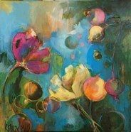 Kristina Bailey, Dots and Flowers, 20x20.