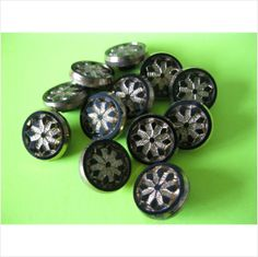 Set of 12 vintage black glass buttons with gold lustre detail 1/2 inch dia on eBid United Kingdom