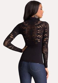 Mock Neck Lace Detail Top - All New Arrivals | bebe
