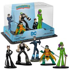 DC Hero World Series 5 Pack 4 Inch Tall Vinyl Figure Collections - Bane, Catwoman, Nightwing, The Riddler and Robin Vinyl Figures, Action Figures, Dc Comics Collection, Robin Dc, Hero World, Lex Luthor, Riddler, Dc Heroes, Nightwing