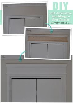 add decorative trim to door frame. Home Upgrades, Home Renovation, Home Remodeling, Casa Clean, Diy Wand, Moldings And Trim, Crown Moldings, Decorative Trim, Home And Deco