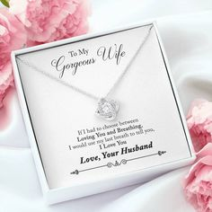 The Love Knot Necklace represents an unbreakable bond between two souls. This symbol of eternal love is a forever favorite and trending everywhere. Surprise your Gorgeous Wife with this gorgeous gift today! Great Gift for Anniversary, Birthday, Christmas or Just Because! Free Gift Box ✔️ Satisfaction Guaranteed ✔️ Not Sold in shops ✔️ Knot Necklace, Love Necklace, Beautiful Love, Beautiful Gift Boxes, To My Future Wife, Gifts For Fiance, Eternal Love, Message Card, Love Symbols