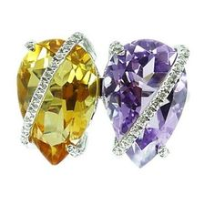"""Twice as nice.  """"Bound Duo"""" Ring in 18K white gold with diamonds and a pear shaped citrine & amethyst. #SummerWithPlukka"""