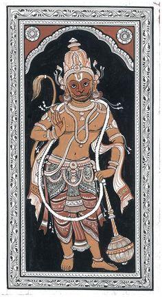 Bijay Parida - Hanuman @ The Dancing Line by Bijay Parida Mysore Painting, Kalamkari Painting, Madhubani Painting, Silk Painting, Phad Painting, Ganesha Painting, Shiva Art, Oriental, Madhubani Art