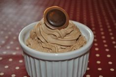 Cupcake with chocolate frosting and toffee