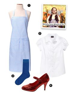Dorothy from 'The Wizard of Oz' Don't forget to click your heels twice and wear double ponytails. Wizard Of Oz Costumes Diy, Wizard Of Oz Dorothy Costume, Easy Diy Costumes, Easy Halloween Costumes, Costumes For Women, Costume Ideas, Theme Halloween, Halloween Inspo, Halloween Stuff