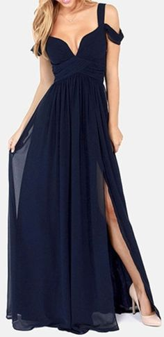 Once Upon a Time Navy Blue Sleeveless Off The Shoulder V Neck Long Side Slit Maxi Dress Evening Gown