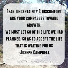 Fear, uncertainty and discomfort are your compasses toward growth. We must let go of the life we had planned, so as to accept the life that is waiting for us ~ Joseph Campbell