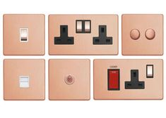 Screwless Brushed Copper Screwless Select Light Switch (10 Amp / 2 Way)