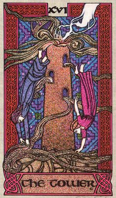 XVI. The Tower - Celtic Tarot by Courtney Davis & Helena Paterson