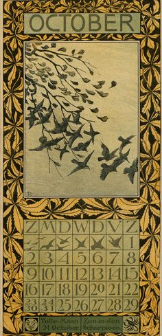 Bird Calendar: October 1904, by Theodoor van Hoytema (1863–1917). Published by Tresling and Co