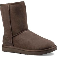 UGG Women's Classic Short II Chocolate Boots ($160) ❤ liked on Polyvore featuring shoes, boots, ankle booties, ankle boots, brown, short brown boots, brown leather bootie, short boots and brown boots