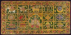 Jain manuscript cover depicting the fourteen auspicious dreams of Queen Trisala, Mahavira's mother, which heralded his birth; 19th century; Western India; Painted wood (Victoria and Albert Museum)