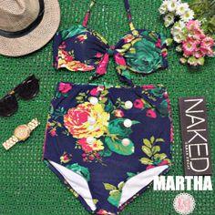 3a1ef1c6a Martha - Retro Vintage Pin Up Handmade Navy Blue Pink Green Floral High  Waist Bikini Swimsuit