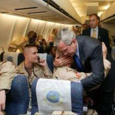 Here is a president who cared about the troops. We miss you.