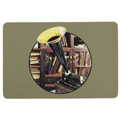 Vintage Phonograph In Library Circa 1880 Floor Mat  $48.19  by SusanSavad  - cyo diy customize personalize unique