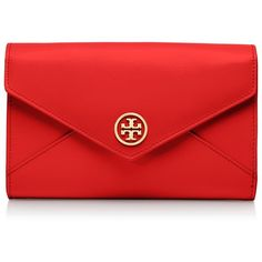 Tory Burch Robinson Small Envelope Clutch ($295) ❤ liked on Polyvore