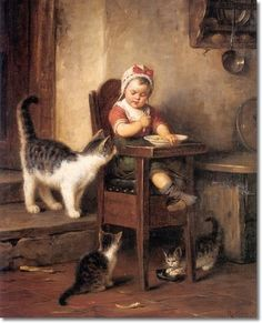 Rudolp Fepp - Rudol Fepp German Painter - The Intruder Cats and Kittens Painting