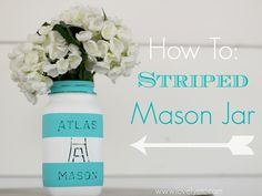 Striped Painted Mason Jar