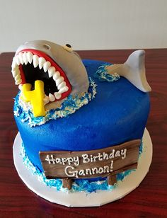 Shark Birthday Cake Adrienne Co Bakery Cakes Boy