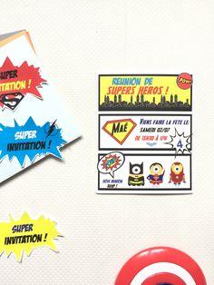 {Free printable} L'invitation Avengers et étiquettes pour enveloppes! Super 4, Superhero Party, Printable Invitations, Minion, Birthday Celebration, Free Printables, Avengers, Party, Tropical Party