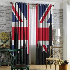 hengshu Union Jack Blackout Curtains Houses of The Parliament Silhouette on UK Flag Historic Urban Skyline for Bedroom Kindergarten Living Room x Inch Royal Blue Black Red Curtains Uk, Doorway Curtain, Bamboo Curtains, Curtain Rails, Beaded Curtains, Blackout Curtains, Modern Valances, London Telephone Booth, Blackout Shades