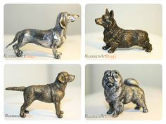 Miniature Welsh Corgi, Dachshund, Labrador Retriever, Chow Chow dog figurine from the alloy of tin pewter statuette by RussianArtDogs on Etsy