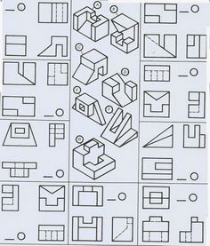 Free for personal use Multiview Drawing Worksheets of your choice Geometric Drawing, Geometric Graphic, Isometric Drawing Exercises, Orthographic Drawing, Orthographic Projection, Geometric Construction, Fractal Geometry, Art Basics, Technical Drawing