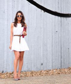 White dress + accent accessories (summer)