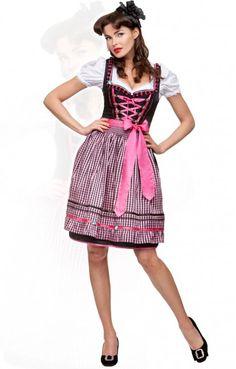 Oktoberfest mid length dirndl 2pcs. Geo pink 60 cm