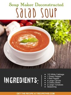 Recipe This   40 Soup Maker Recipes To Cook In The Soup Machine Soup Recipes, Dinner Recipes, Cooking Recipes, Healthy Recipes, Detox Recipes, Delicious Recipes, Easy Recipes, Tasty, Dessert