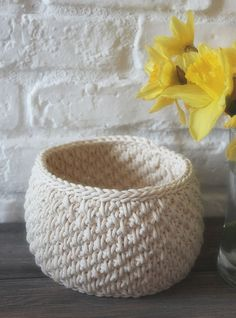 small crochet basket , ready to ship