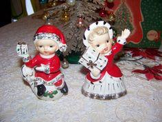 Vintage 1950's Christmas Ucagco Boy and Girl Figurines