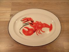 Large white enamel lobster platter with black trim- some wear but fully functional and beautiful, enamel tray, lobster plate, nautical by HeathersCollectibles on Etsy