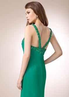 ZEILA GALA 9283  Vestido de fiesta largo en chiffón y detalles de cristal, con especial escote en espalda