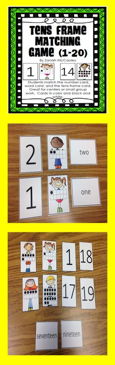 Tens Frame Matching Game: Students can match the number card, word card, and the tens frame card. Great for centers or small group work. Cards are in color and black and white.  $