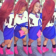 she likes the red one,natural straight hair.