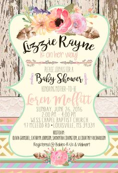 Baby Girl Shower Invitation! Designed by Loren's Layouts! Flowers. Feathers. Arrows. Aztec. Lace. Mint. Coral. Pink. Lavendar. Gold. Grey.