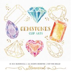 Hand drawn gemstones & crystals clip arts in watercolor and modern gold foil outline and some glitter dots for decoration. The clip art set is perfect for scrap booking, jewelry, accessories, fashion boutiques , invites, websites, blogs, gift & box wrapping, envelope, party decor, planner