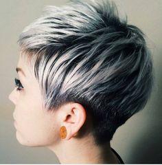 Pixie haircut on silver grey hair 1 More