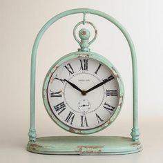 Blue Jalynn Swinging Clock from Cost Plus World Market's New Spring Collection >>  #WorldMarket Home Decor Ideas