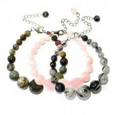 Pearlz Ocean Sterling Silver Picasso Jasper, Rose Quartz and Black Rutilated Quartz Bracelet (Set of 3) - Save 10% on each participating item when you spend $19.00 or more on Qualifying Items offered by Pearlz ocean. Enter code PROMO1PZ at checkout.
