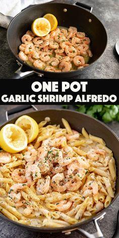 Shrimp Alfredo Penne, Shrimp Alfredo Sauce Recipe, Shrimp Ravioli Recipe, Seafood Alfredo, Penne Pasta Recipes, Garlic Shrimp Pasta, Pasta Dishes, Entree Recipes, Seafood Recipes