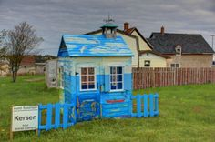"Artist: Jennie Lamont. Painted Children's Playhouse, part of the ""Maudified"" House Project in Yarmouth NS.  Located next to Emins Meat Market, Main Street, Yarmouth NS Photo snapped by Sandra Phinney."
