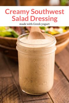 With just a few simple ingredients, make this creamy and spicy salad dressing at home. A perfect Tex Mex version of ranch dressing that's great for salads, tacos, bowls, and more. #condiment #salad #snack #makeahead #quickandeasy #saladdressing #homemadesaladdressing #southwestsaladdressing #southwestdressing Southwest Salad Dressings, Weight Watchers Soup, Slender Kitchen, Homemade Sauce, Good Healthy Recipes, Ranch Dressing, Soup And Salad, Cooking Recipes, Favorite Recipes