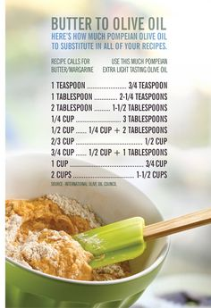 Butter to Olive Oil conversion chart for healthy baking and cooking.