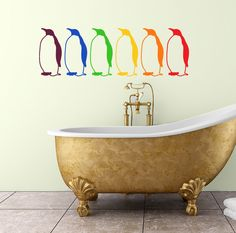 Rainbow penguin wall decal set of six multicolor by RadRaspberry