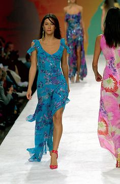 Ungaro   Spring 2000 Ready-to-Wear   161 Blue floral cut out shoulder maxi dress with asymmetrical hem