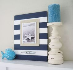 Navy Blue and White Wood Stripe Frame with Boat Cleat for 5x7. $59.00, via Etsy.